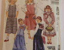 UNCUT McCalls 4672 Girls Sizes 3,4,5 Jumper Detachable Collar and Appliques Sewing Pattern Vintage 1990
