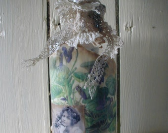 French Maiden Boho Chic Art Bottle Vintage Salvaged Materials jewelry Lace Ribbon Purple Violets Nature Woodland Media Media Handmade