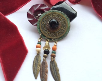 Native American Metal Dream Catcher with Merlot Vintage Button Cluster Brooch