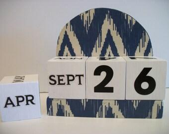 Navy Ikat Calendar Perpetual Block Calendar Wood Navy Blue Chevron Ikat Pattern