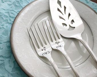 """Mr. & Mrs. forks and cake server set,  """"beloved"""" love birds, hand stamped vintage"""