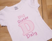 Big Sister Personalized Pink and White Seersucker Initial Announcement Shirt Pregnancy Reveal Top