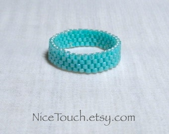 SUMMER SALE!!! Free Shipping or Save 20% ~ Sweet Baby Blue woven peyote beaded ring ~ Made to Order