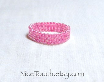 SUMMER SALE!!! Free Shipping or Save 20% ~ Princess Pink woven peyote glass beaded ring ~ Made to Order