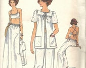 1970s Bra Top Criss Cross Straps Flared Pants Jacket Long Skirt Very Easy Very Vogue 9808 Uncut FF Bust 32.5 Women's Vintage Sewing Pattern