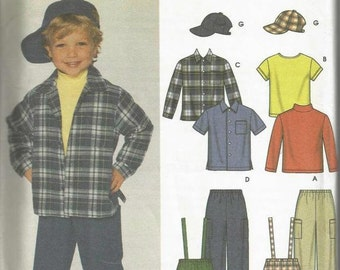 Toddler Boys' Pants with Detachable Suspenders Knit Top Shirt Hat Simplicity 7036 Uncut FF Size 6 Mos to 2 Years Boys Sewing Pattern