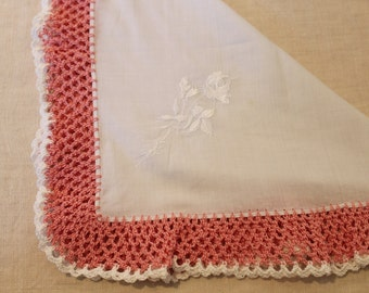 White Vintage Handkerchief with Pink Crochet