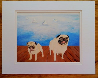 PuG Print, Sailboats and Pugs Print