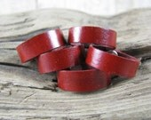 Unisex Red Leather Ring - Red Ring Band - Leather Jewelry - Leather Band - Leather Ring - Wedding Ring Band