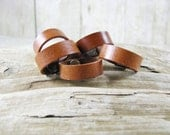 Unisex Tan Leather Ring - Tan  Ring Band - Leather Jewelry - Leather Band - Leather Ring - Wedding Ring Band