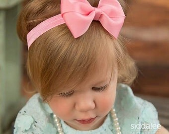 Choose color, baby headband, infant headband, bow headband, boutique baby headband, toddler headband, large bow, bow headband, baby hairband
