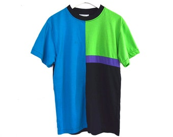 80's90's Oversized  Color Block T Shirt size - S