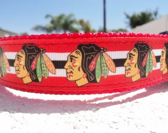 Dog Collar Chicago Blackhawks, Quick Release, buckle OR, Martingale collar, adjustable -  hockey