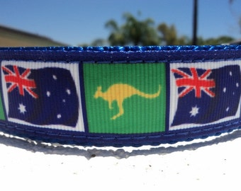 "Sale Austrailian Dog Collar Flag & Kangaroo 1"" wide Quick Release buckle or Martingale collar adjustable"