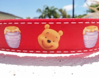 "Sale Dog Collar Disney Pooh Bear and Honey Pot 1"" wide Quick Release buckle - Martingale style is cost upgrade"