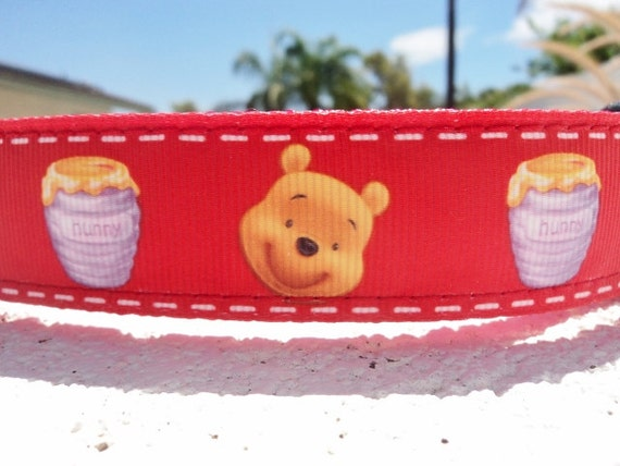 """Sale Dog Collar Disney Pooh Bear and Honey Pot 1"""" wide Quick Release buckle - Martingale style is cost upgrade"""