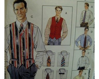 "Mens Vest Pattern, Dress Shirt, Back Pleats, Back Belt, Shaped Front, McCalls No. 7365 UNCUT Size XL, XXL, XxXL (Chest 46-56"" 117-143cm)"