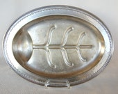 Vintage MM Co Electroplate Nickel Silver Footed Tree and Well Meat Platter Roast Carving Tray MMCo EPNS N3108 Platter