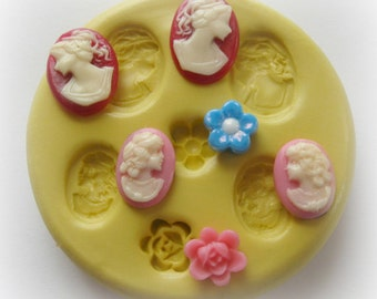 Rose Lady Cameo Jewelry Mold PMC Polymer Clay Molds