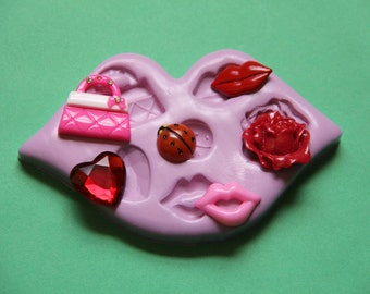 Lips Mold Heart Purse Ladybug Rose Silicone Molds Resin Polymer Clay Fondant Clay Molds