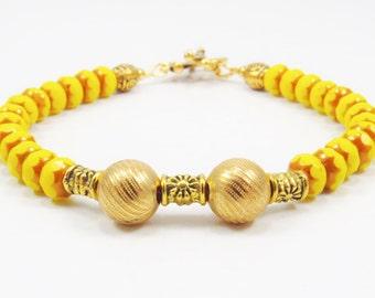 Czech Glass Mixed Media Bracelet, Glass Beaded Bracelet, Chic Jewelry, 8 1/4 inches
