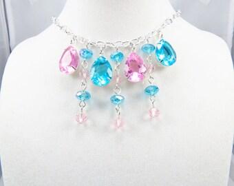 Teardrop Glass Bib Necklace, Choker Necklace, Chic Jewelry, Fashion Jewelry, Women's Jewelry, 15 inches