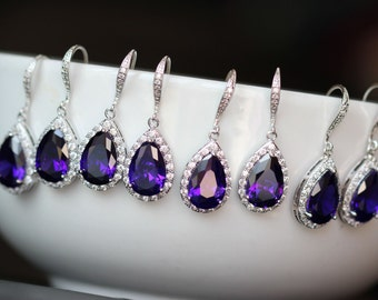 3 set of amythyst earring purple bridesmaid earring bridal party earring