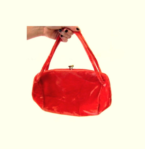 1940s velvet bag bright orange with attached satin coin