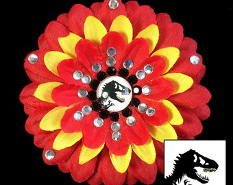 Jurassic Park/Jurassic World Red and Yellow Penny Blossom Rhinestone Flower Barrette