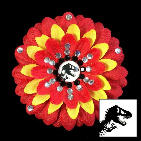 Jurassic Park/Jurassic World Red and Yellow Penny Blossom Rhinestone Flower Barrette