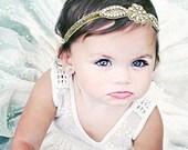 Gold Headband, Gold Baby Headband, Gold Glitter Headband, Holiday Headband, Bling