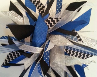 Ribbon Ponytail Streamer - Blue, Black, Silver, White