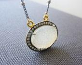 Druzy Necklace-Oval Druzy Necklace-Druzy With Diamond CZ-Bezel Set-Big Druzy Necklace-White Druzy Necklace-Mother's day Gift-Momentusny