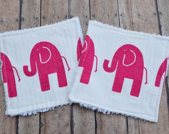 Chenille Wash Cloths - Pink Elephant Baby Washcloths - Set of Two - Free Shipping