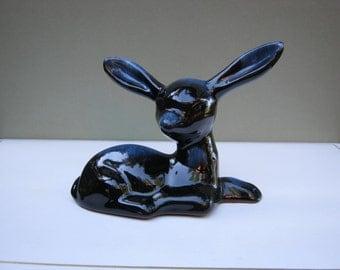 Fawn Figurine - Deer Doe - Blue Glaze - Red Clay - Oak Hill Vintage