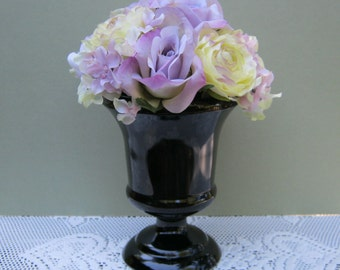 Simple Black Milk Glass Compote - Smooth Design - Wedding Centerpiece - Oak Hill Vintage