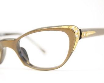 Small 1950 cat eye eyeglasses brown rhinestone cateye frames