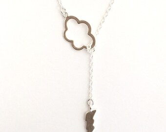 Lightning Cloud Lariat Necklace in Silver- sexy, sophisticated, spring summer style, available in gold, original design by ACutieChick.