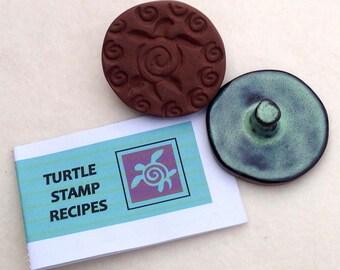 Terra Cotta Cookie Stamp with Recipe Book  #cookies  #recipe  #sea turtle #buffalo