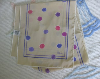 Vera Neumann Long Beige Scarf with Purple and Fuchsia Splotches