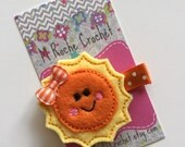 Sunshine hair clip, sunshine felt clip, sunshine hair bow, baby hair clip, toddler hair clip, hair accessory, baby accessory, baby barrettes