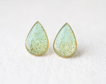 Mint Teardrop Shape Shimmering Brass Stud Earrings