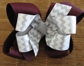 2669 Aggie maroon and white double boutique bow