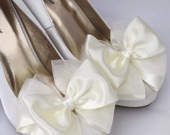 Ivory Satin Shoes Bridal Shoes Custom Handmade With Big Bows Fairytale Shoes Dita by Seriously Sassyx