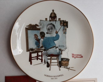 """Norman Rockwell """"Triple Self Portrait"""" 1978 Memorial Plate by Gorham (certificate of authenticity)"""