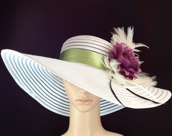 Kentucky Derby Hat with Purple Rose , Fascinator, Wide Brim Dress Hat ,Formal Dress Hat Wedding Tea Party Ascot  Horse Race