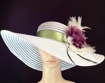 Kentucky Derby Hat with Purple Rose , Fascinator, Wide Brim Dress Hat ,Formal Dress Hat Wedding Tea Party Ascot  Horse Race