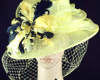 Yellow Kentucky Derby Hat with veiling