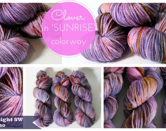 Hand dyed Yarn Superwash Merino Clover Worsted Purple Sunrise Swoon Fibers
