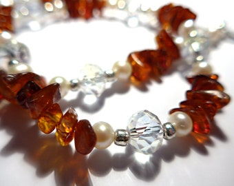 Stunning Cognac Natural Baltic Amber, Freshwater Pearl and Crystal Necklace